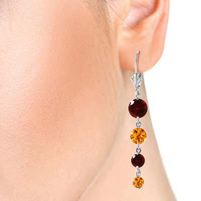 Garnet and Citrine Quadruplo Drop Earrings 7.8ctw in 9ct White Gold