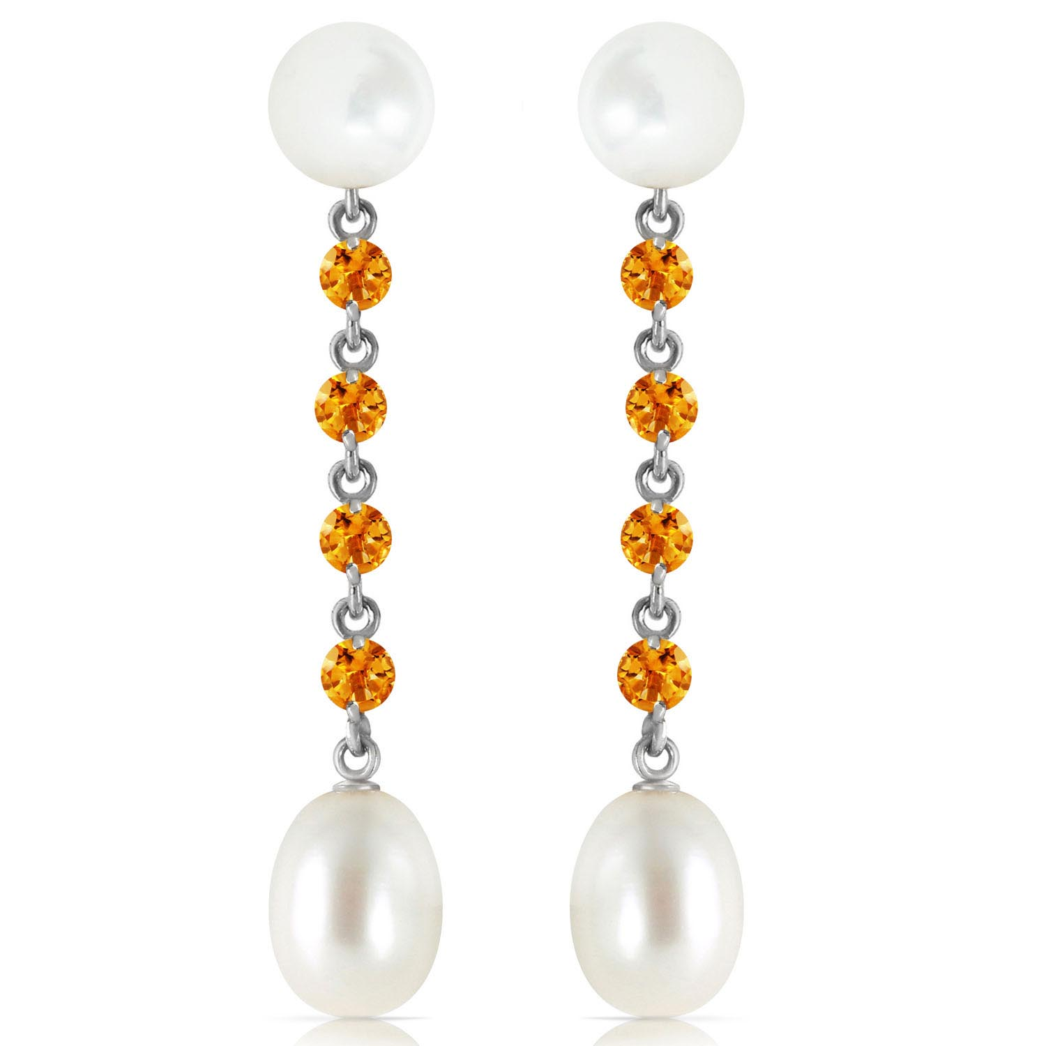Pearl and Citrine by the Yard Drop Earrings 11.0ctw in 9ct White Gold
