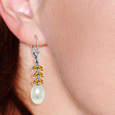 Pearl and Citrine Drop Earrings 9.2ctw in 14K White Gold