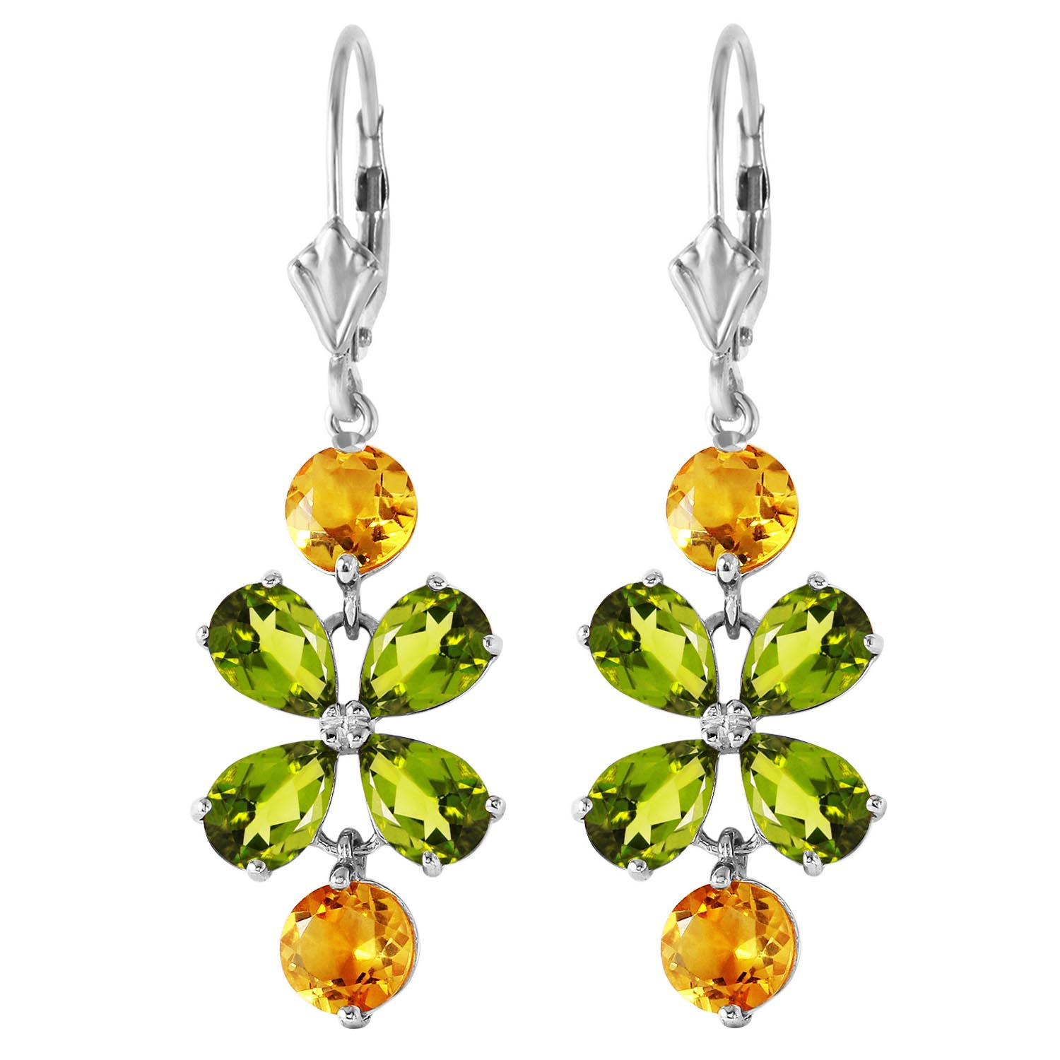 Peridot and Citrine Blossom Drop Earrings 5.32ctw in 9ct White Gold