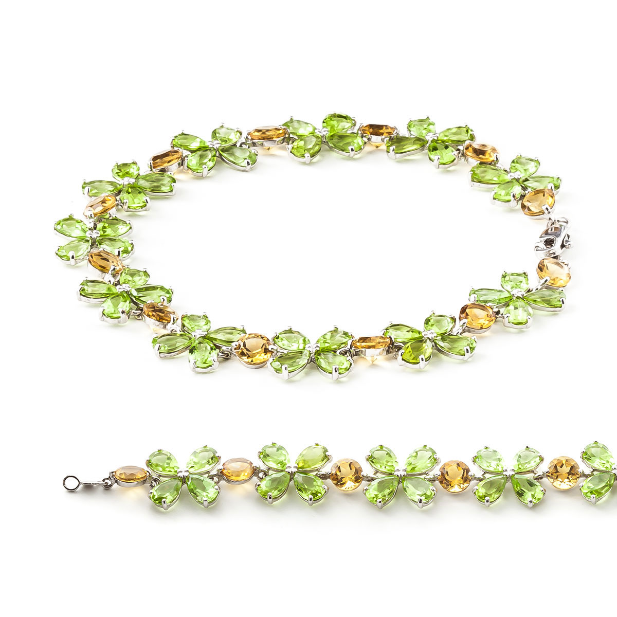 Peridot and Citrine Blossom Bracelet 20.7ctw in 14K White Gold