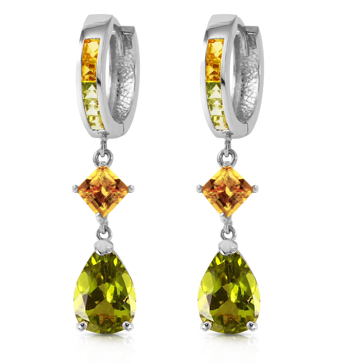 Peridot and Citrine Huggie Earrings 4.9ctw in 9ct White Gold