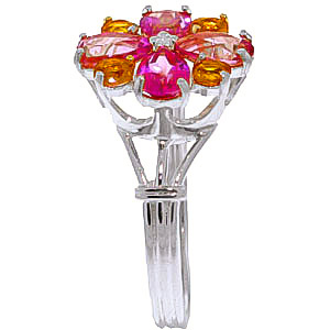 Pink Topaz and Citrine Sunflower Cluster Ring 2.43ctw in 14K White Gold