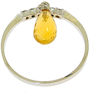 Diamond and Citrine Ring in 9ct White Gold
