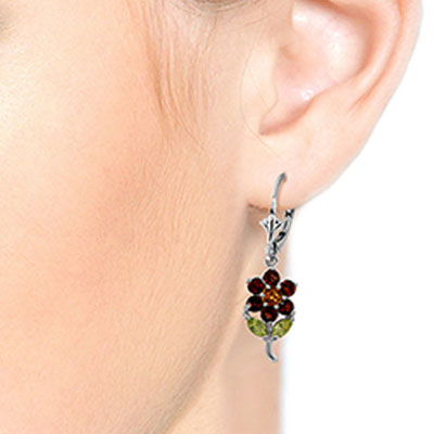 Garnet, Citrine and Peridot Flower Petal Drop Earrings 2.12ctw in 14K White Gold