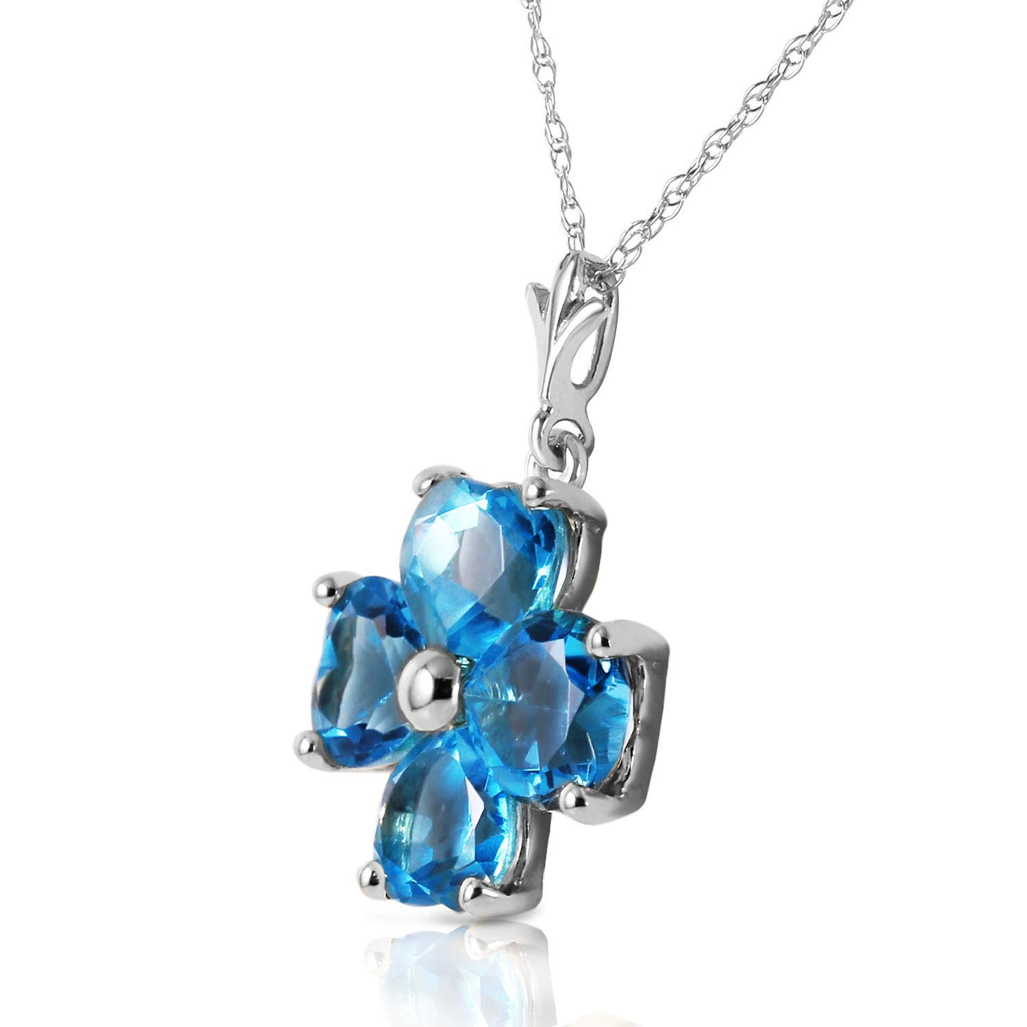 Blue Topaz Four Leaf Clover Heart Pendant Necklace 3.8ctw in 9ct White Gold