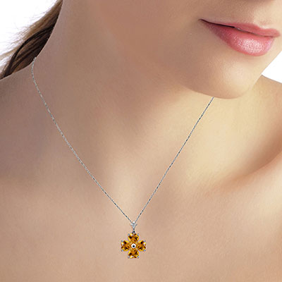 Citrine Four Leaf Clover Heart Pendant Necklace 3.8ctw in 9ct White Gold
