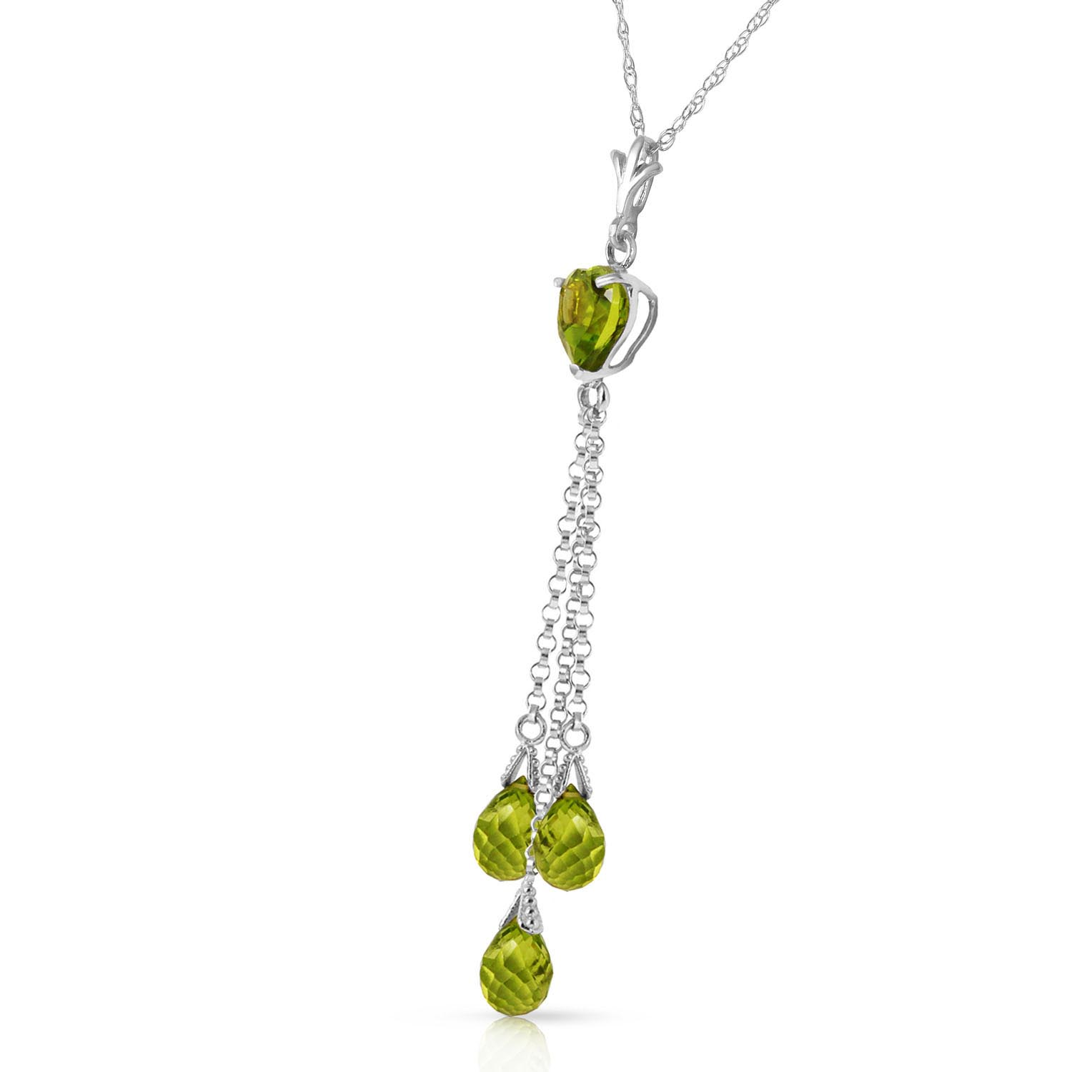 Peridot Comet Tail Heart Pendant Necklace 4.75ctw in 14K White Gold