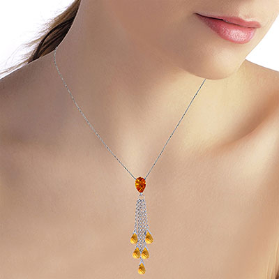 Citrine Comet Tail Pendant Necklace 7.5ctw in 14K White Gold