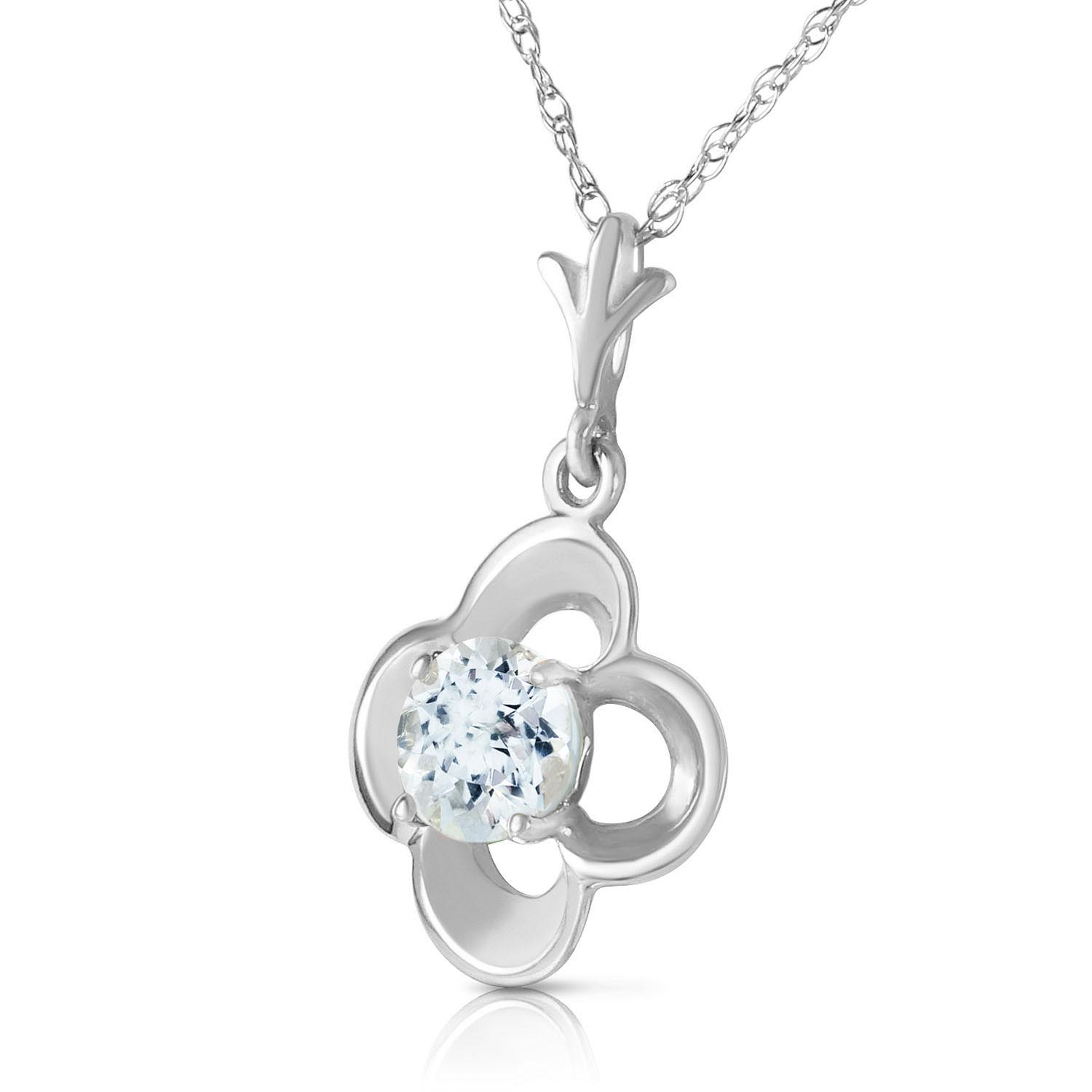 Aquamarine Corona Pendant Necklace 0.55ct in 9ct White Gold