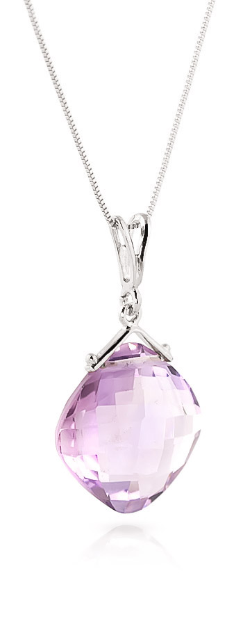 Cushion Cut Amethyst Pendant Necklace 8.75ct in 9ct White Gold
