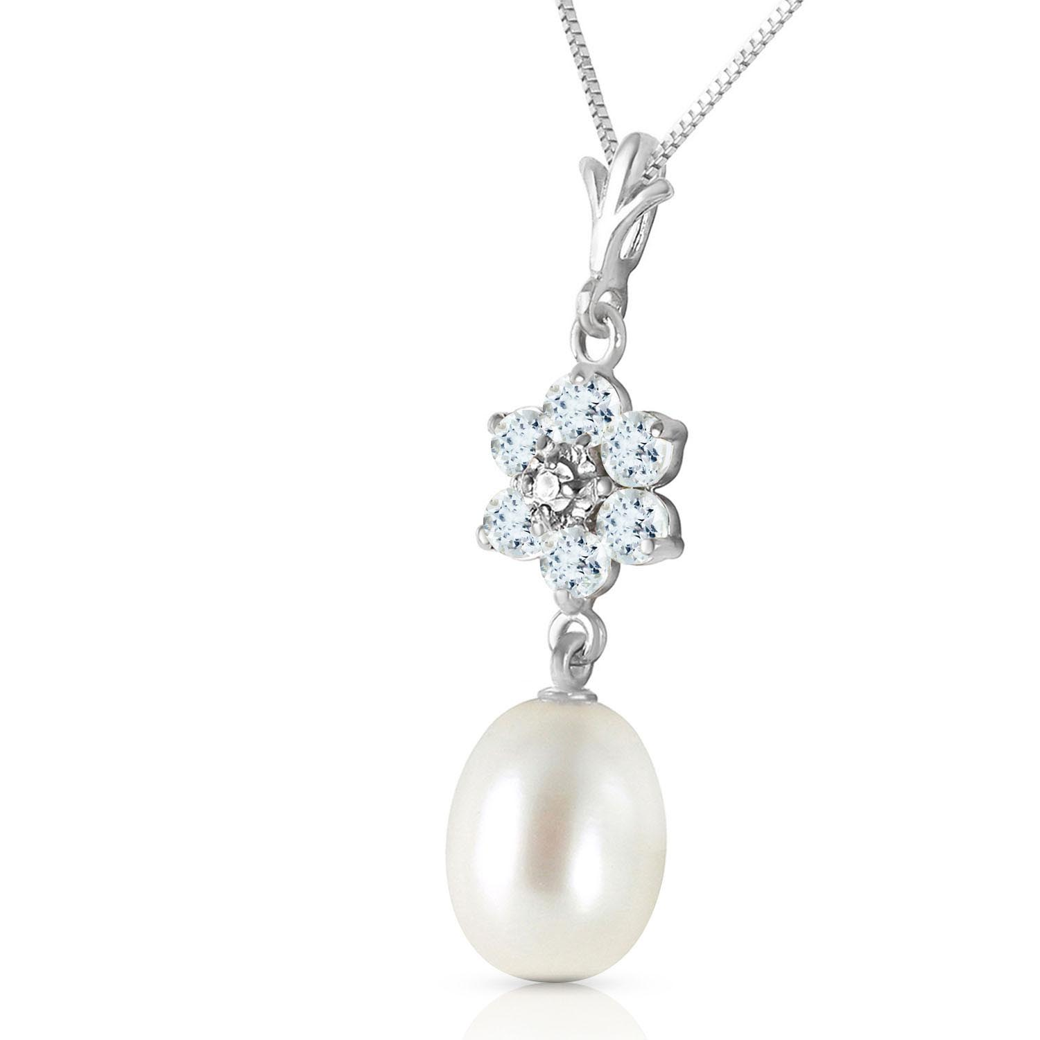 Pearl, Aquamarine and Diamond Daisy Pendant Necklace 4.5ctw in 14K White Gold