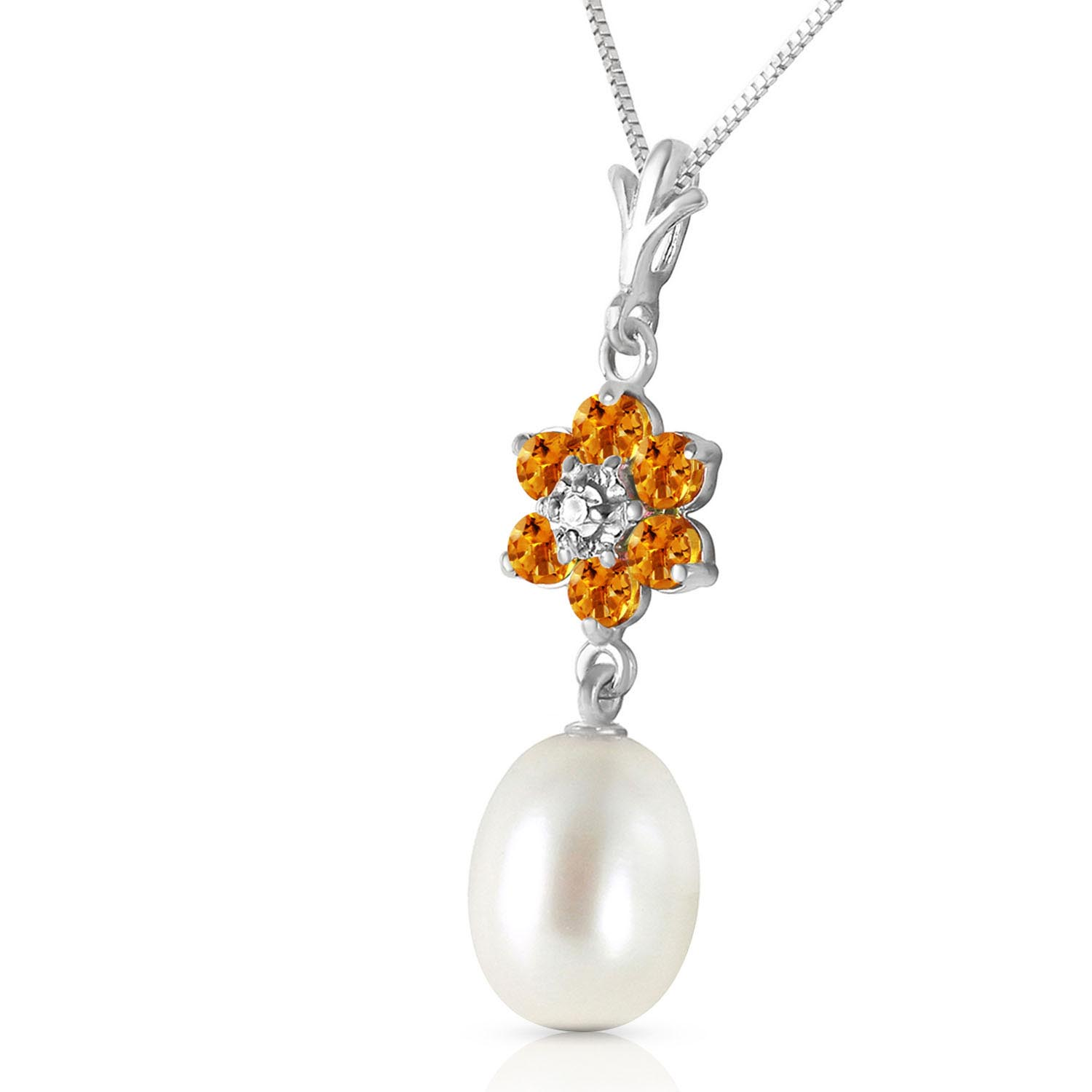 Pearl, Citrine and Diamond Daisy Pendant Necklace 4.5ctw in 9ct White Gold