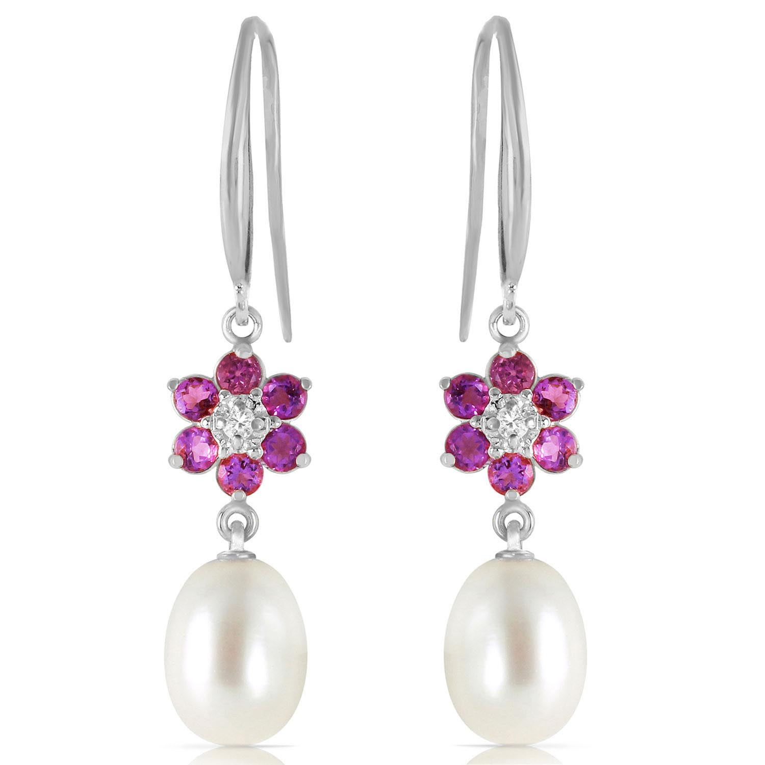 Pearl, Diamond and Amethyst Daisy Chain Drop Earrings 8.95ctw in 14K White Gold