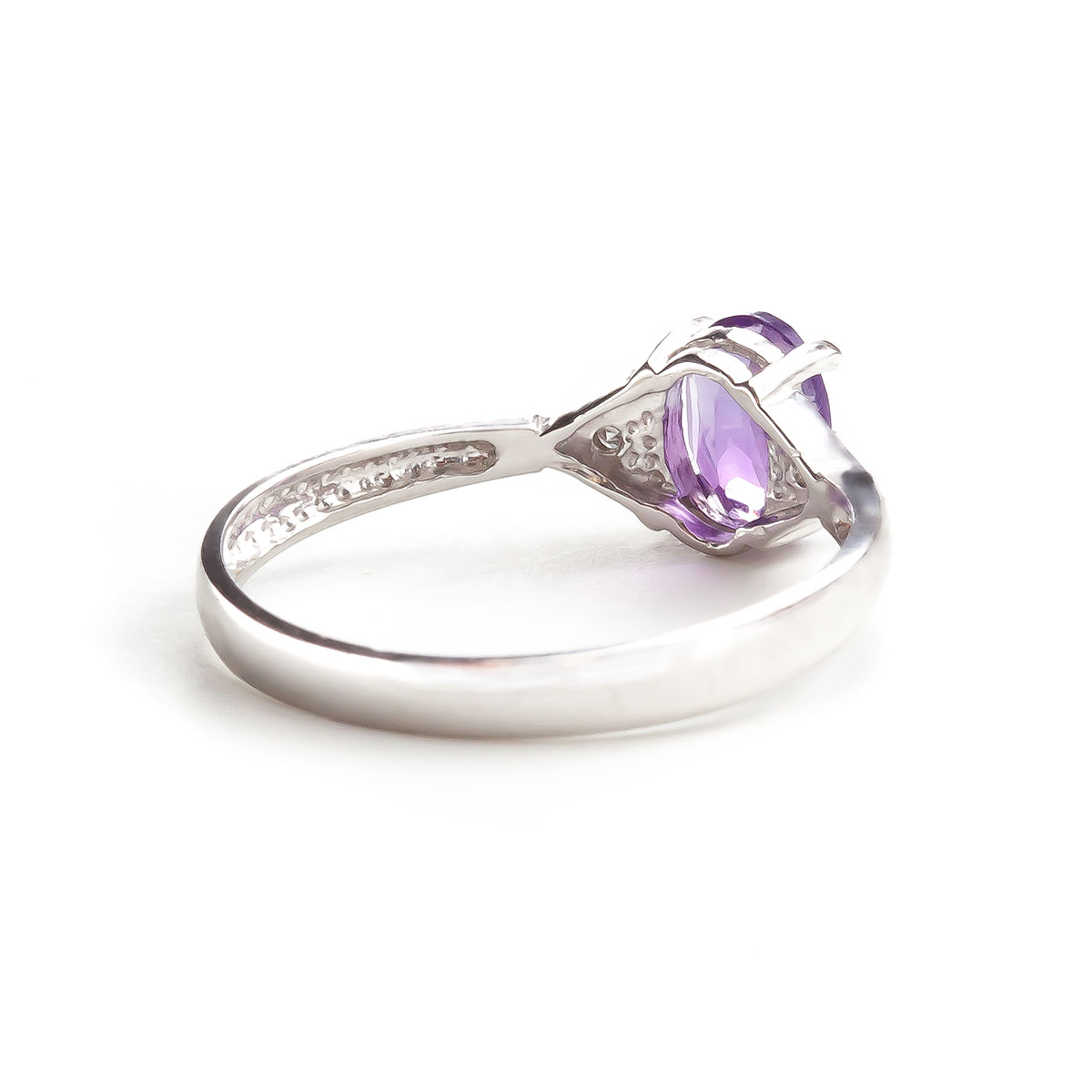 Amethyst and Diamond Allure Ring 0.45ct in 14K White Gold