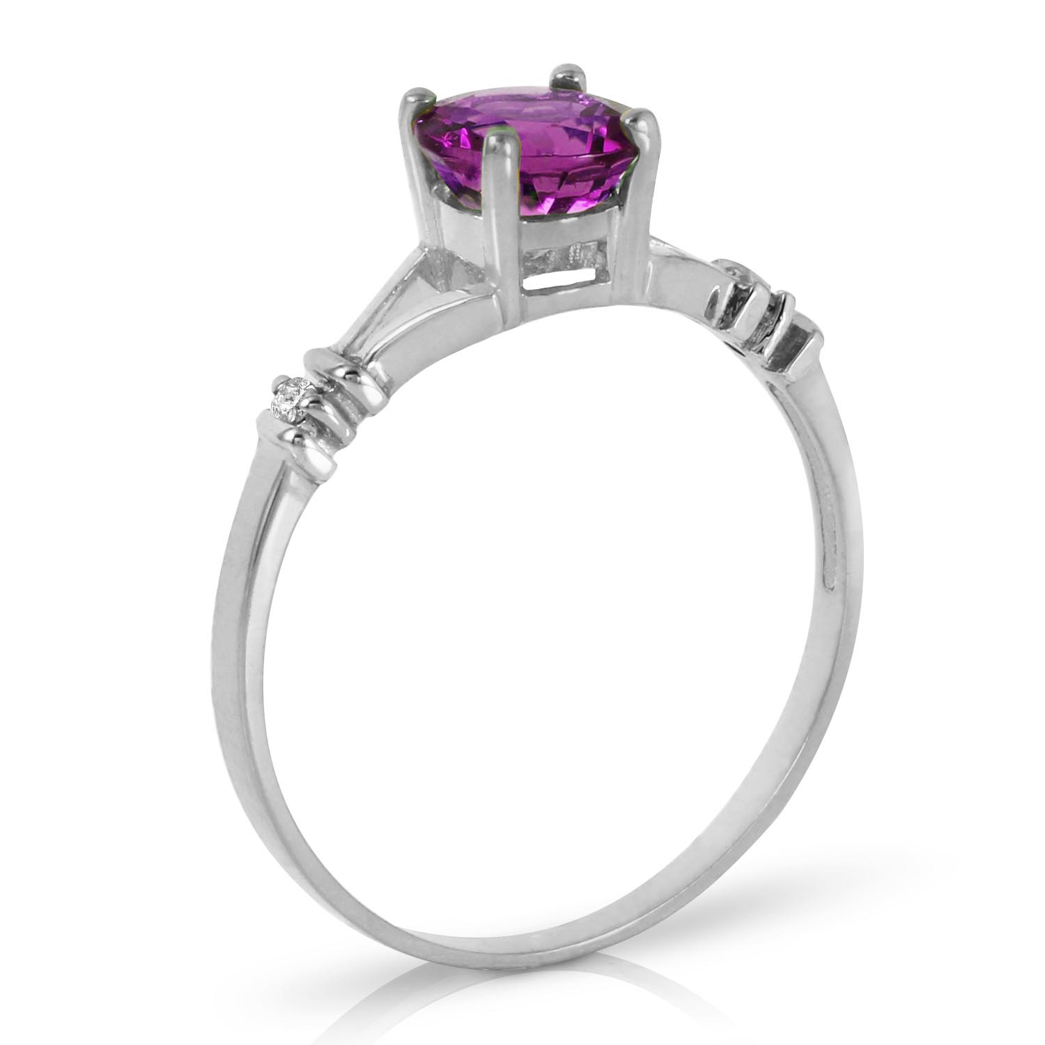 Amethyst and Diamond Aspire Ring 0.14K in 14K White Gold