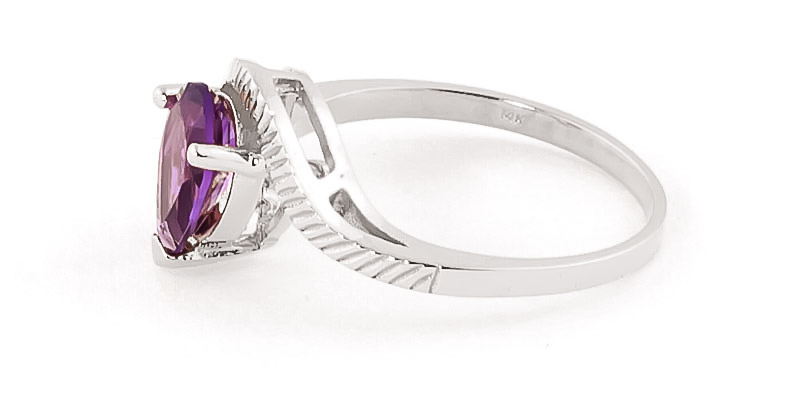 Amethyst and Diamond Belle Ring 1.5ct in 14K White Gold