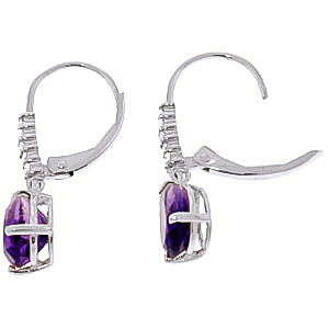 Amethyst and Diamond Belle Drop Earrings 3.0ctw in 9ct White Gold