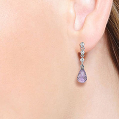 Amethyst and Diamond Chain Droplet Earrings 3.0ctw in 14K White Gold