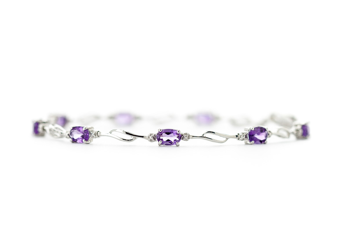 Amethyst and Diamond Classic Tennis Bracelet 2.95ctw in 9ct White Gold