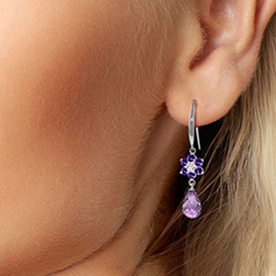 Amethyst and Diamond Daisy Chain Drop Earrings 5.45ctw in 9ct White Gold