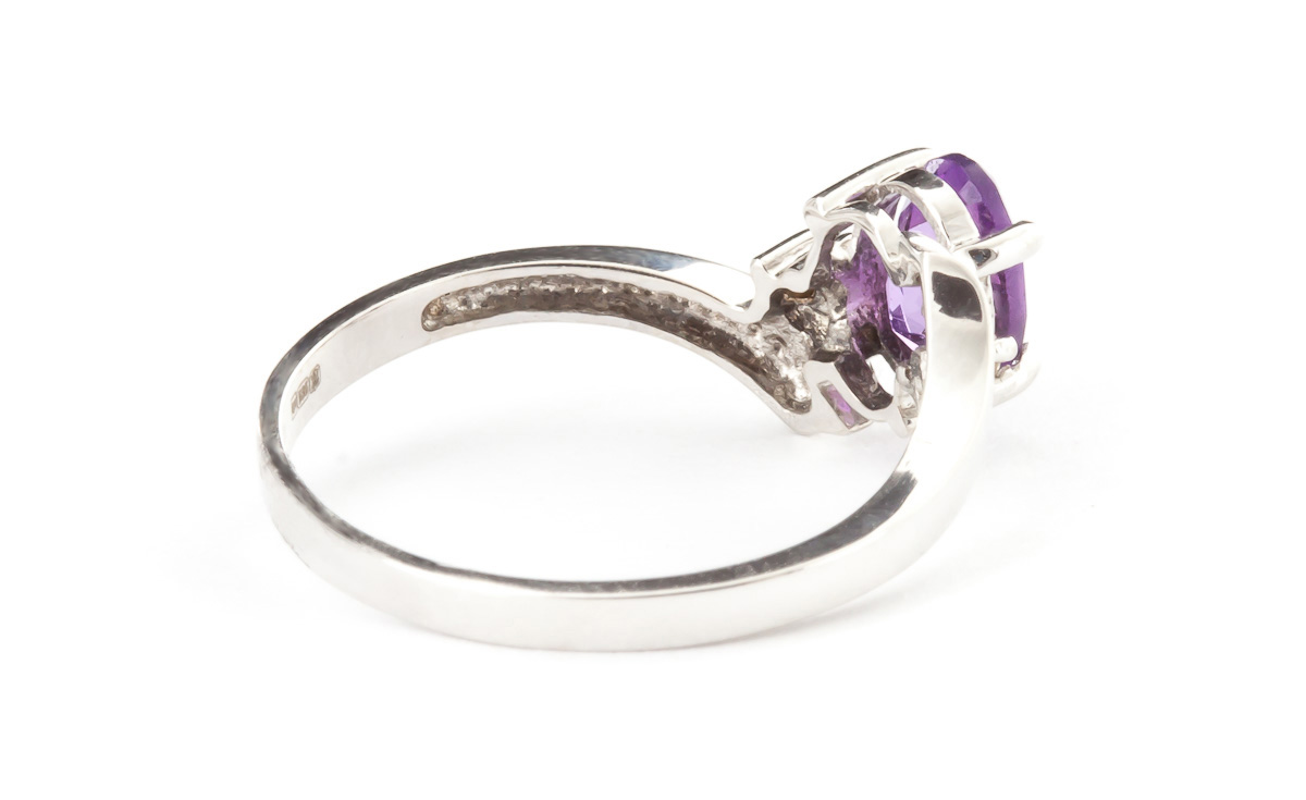Amethyst and Diamond Embrace Ring 0.45ct in 14K White Gold