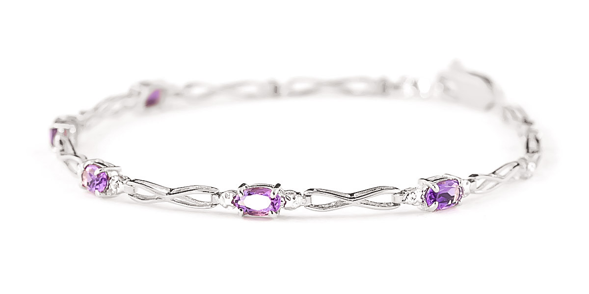 Amethyst and Diamond Evert Tennis Bracelet 1.15ctw in 9ct White Gold