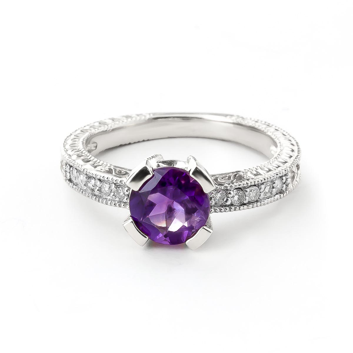 Amethyst and Diamond Renaissance Ring 1.5ct in 14K White Gold