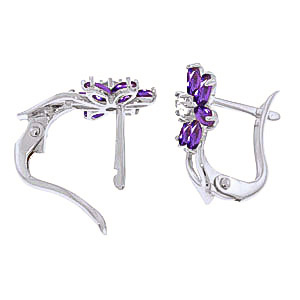 Amethyst and Diamond Flower Petal Drop Earrings 1.0ctw in 9ct White Gold