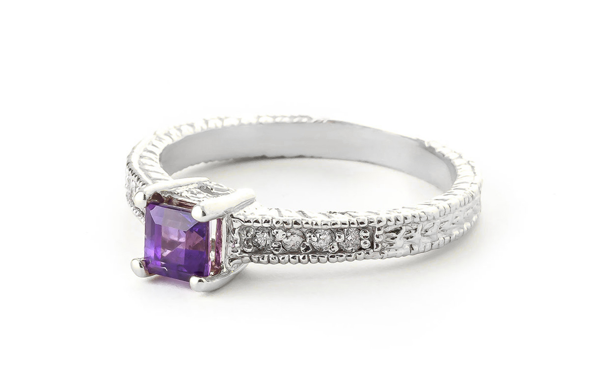 Amethyst and Diamond Shoulder Set Ring 0.5ct in 9ct White Gold