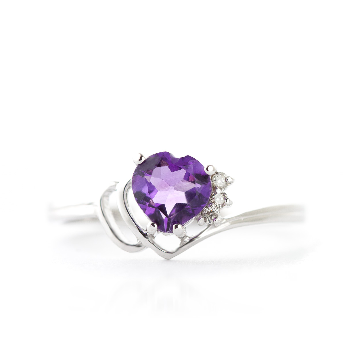 Amethyst and Diamond Passion Ring 0.95ct in 14K White Gold