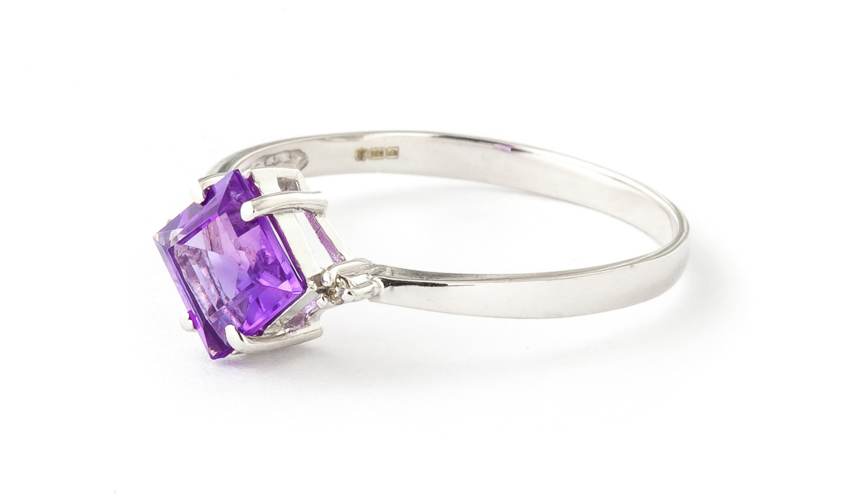 Amethyst and Diamond Ring 1.75ct in 14K White Gold