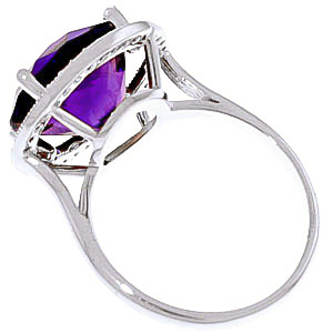 Amethyst and Diamond Halo Ring 6.0ct in 14K White Gold