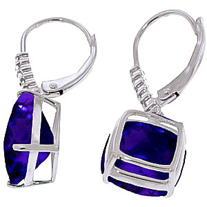 Amethyst and Diamond Rococo Drop Earrings 7.2ctw in 14K White Gold