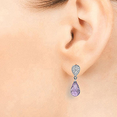 Amethyst and Diamond Droplet Earrings 4.5ctw in 14K White Gold
