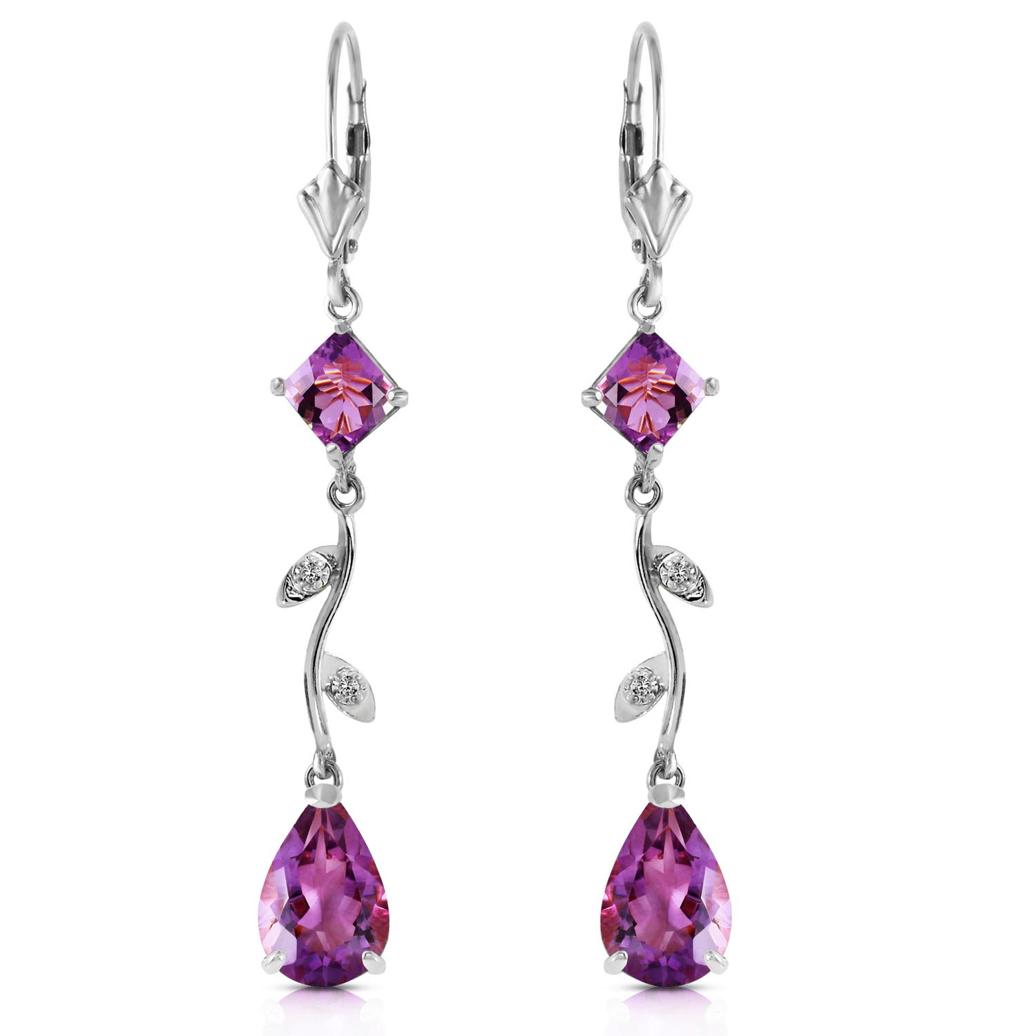 Amethyst and Diamond Vine Branch Drop Earrings 3.95ctw in 9ct White Gold
