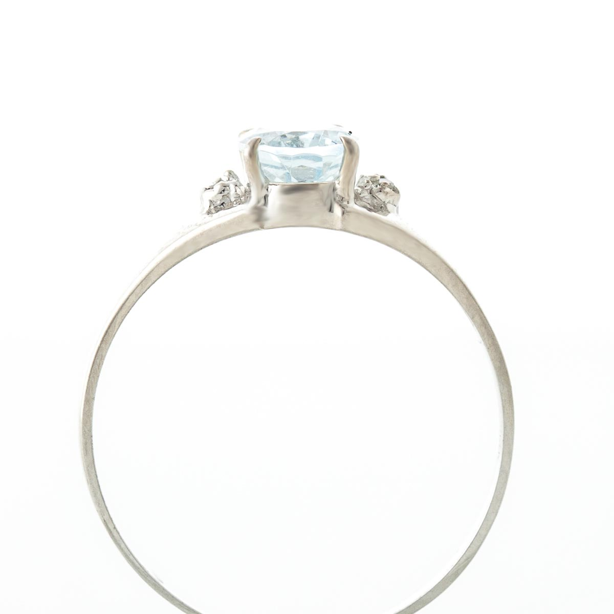 Aquamarine and Diamond Desire Ring 0.75ct in 9ct White Gold