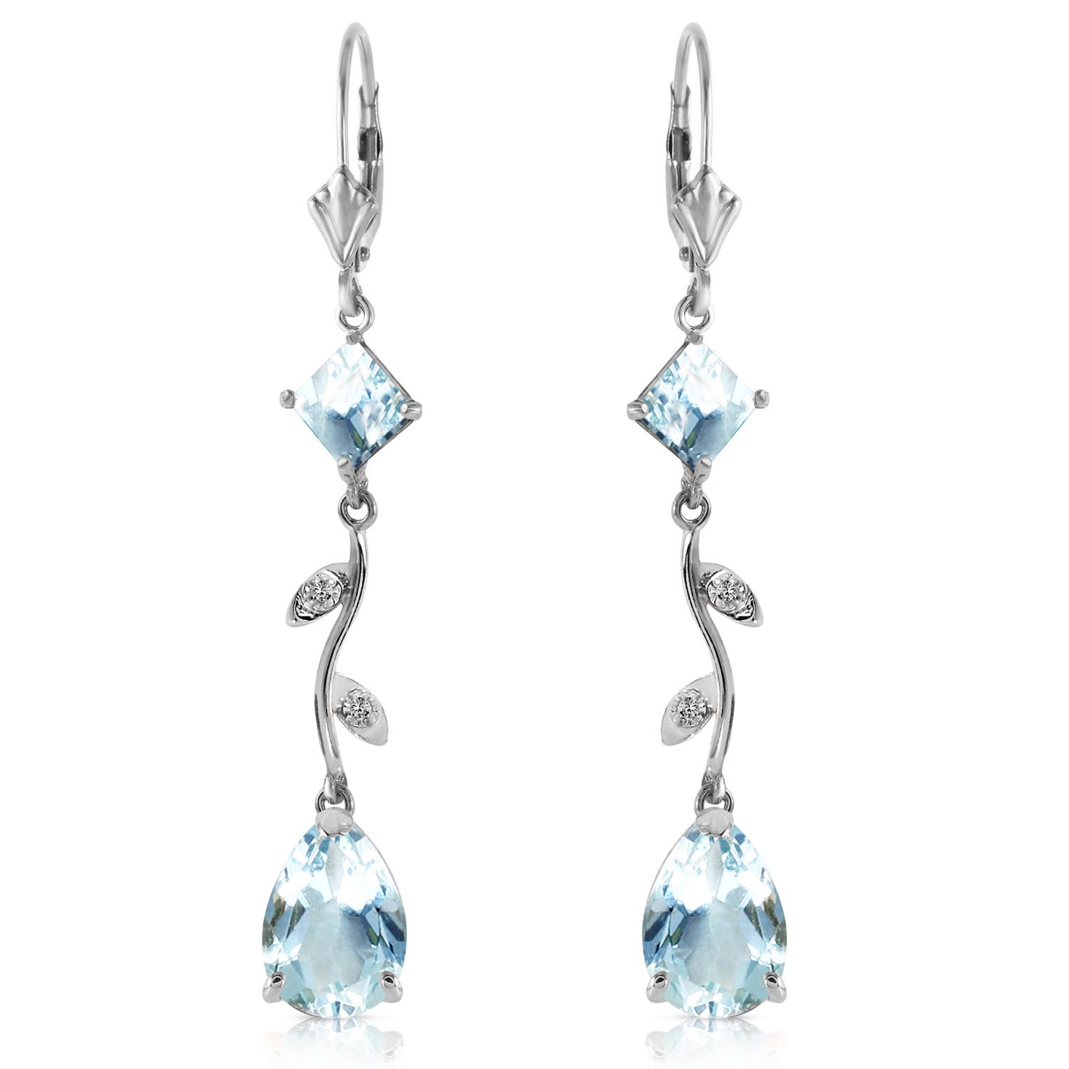 Aquamarine and Diamond Vine Branch Drop Earrings 3.95ctw in 9ct White Gold