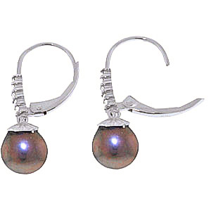 Black Pearl and Diamond Drop Earrings 4.0ctw in 9ct White Gold