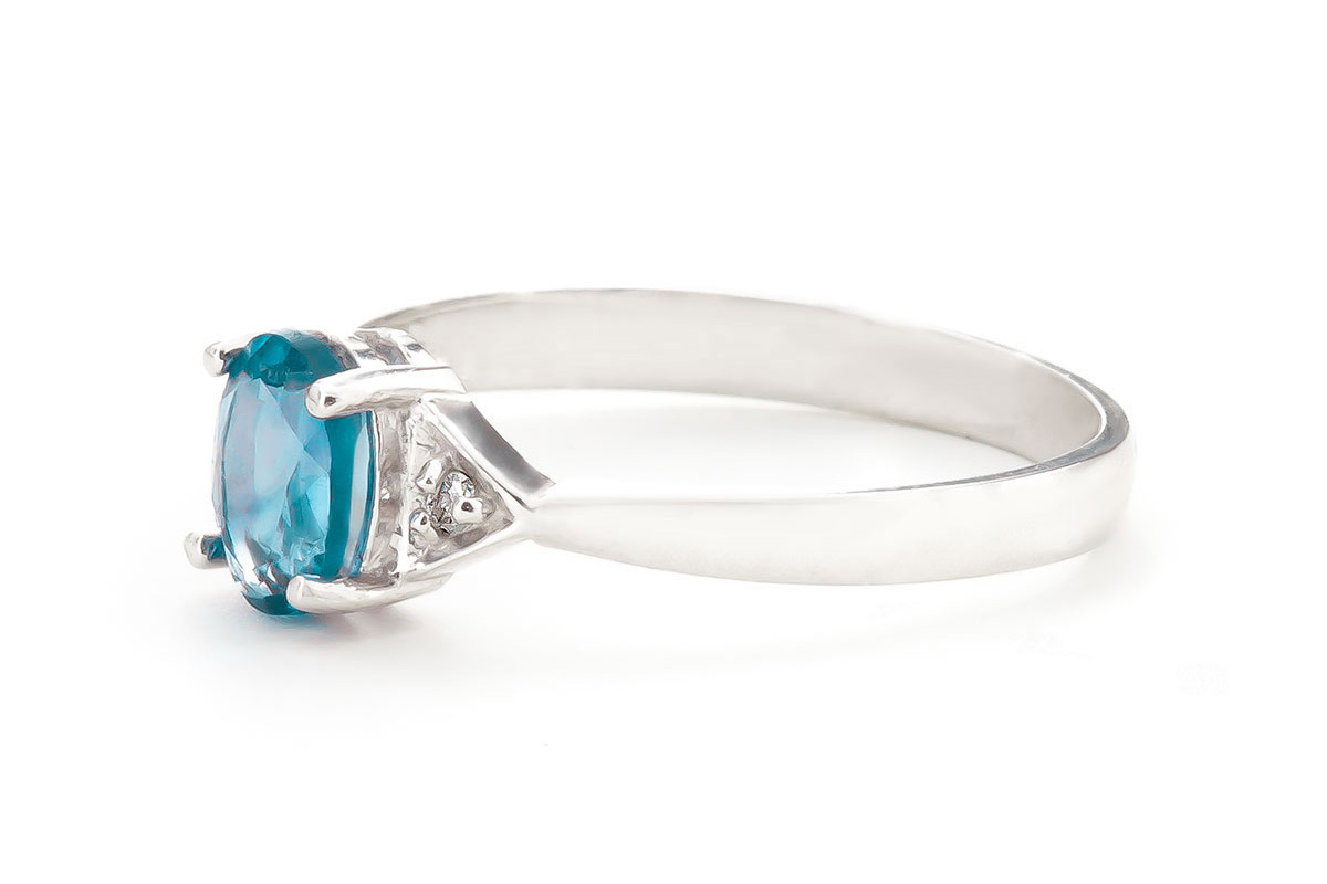 Blue Topaz and Diamond Allure Ring 0.45ct in 14K White Gold