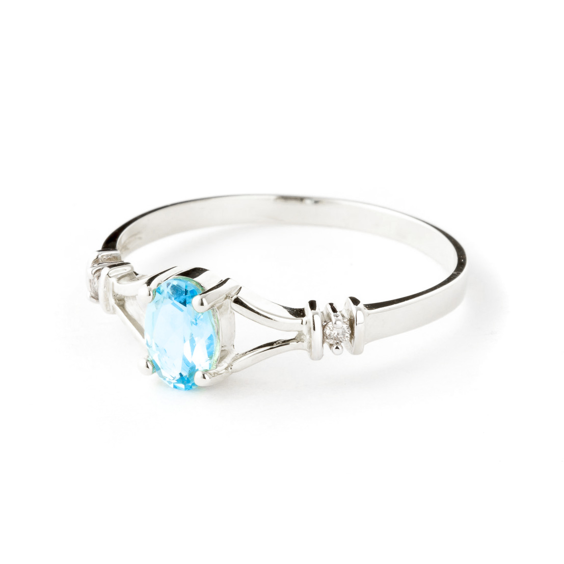Blue Topaz and Diamond Aspire Ring 0.45ct in 14K White Gold