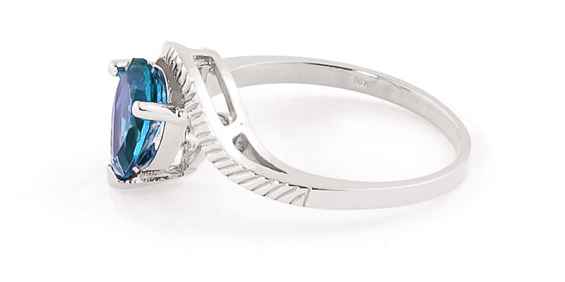 Blue Topaz and Diamond Belle Ring 1.5ct in 14K White Gold