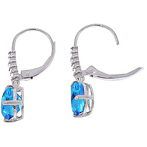 Blue Topaz and Diamond Belle Drop Earrings 3.0ctw in 9ct White Gold