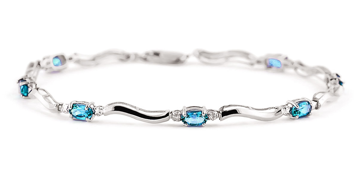 Blue Topaz and Diamond Classic Tennis Bracelet 2.15ctw in 9ct White Gold