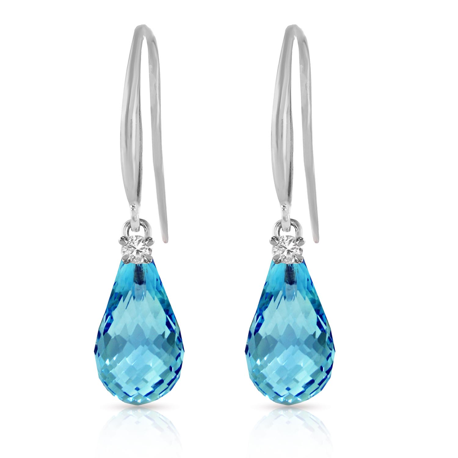 Blue Topaz and Diamond Drop Earrings 4.5ctw in 9ct White Gold