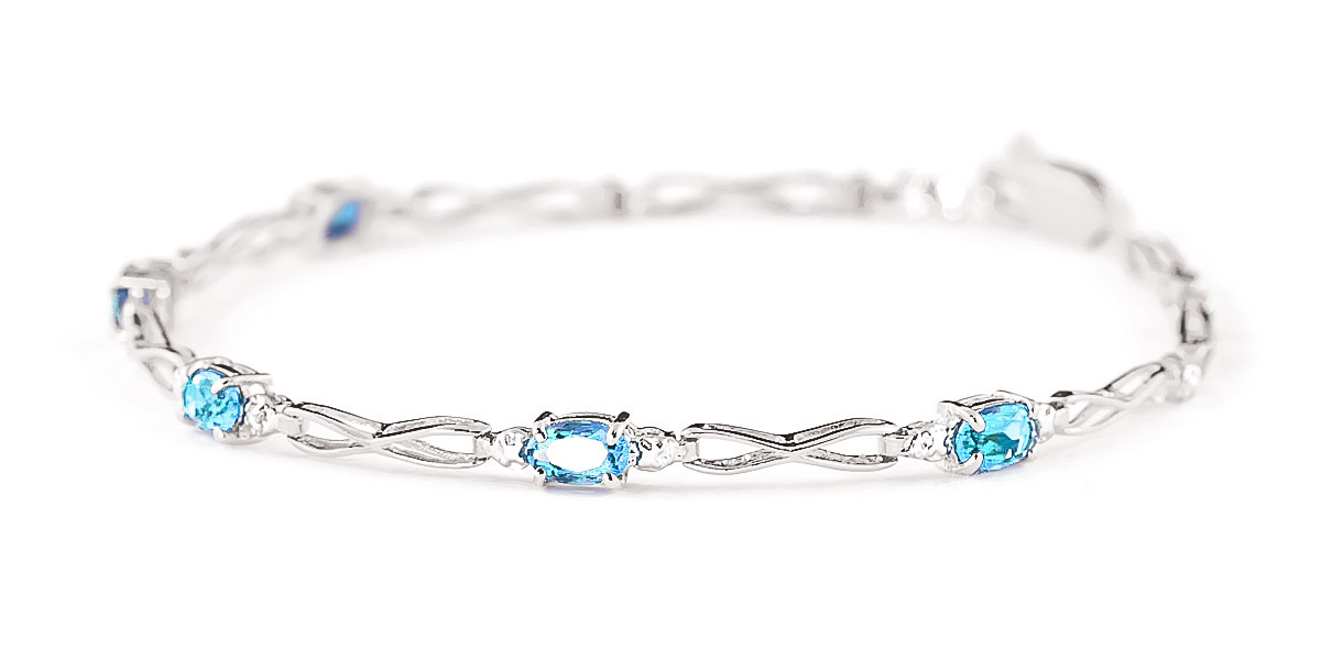 Blue Topaz and Diamond Evert Tennis Bracelet 1.15ctw in 14K White Gold