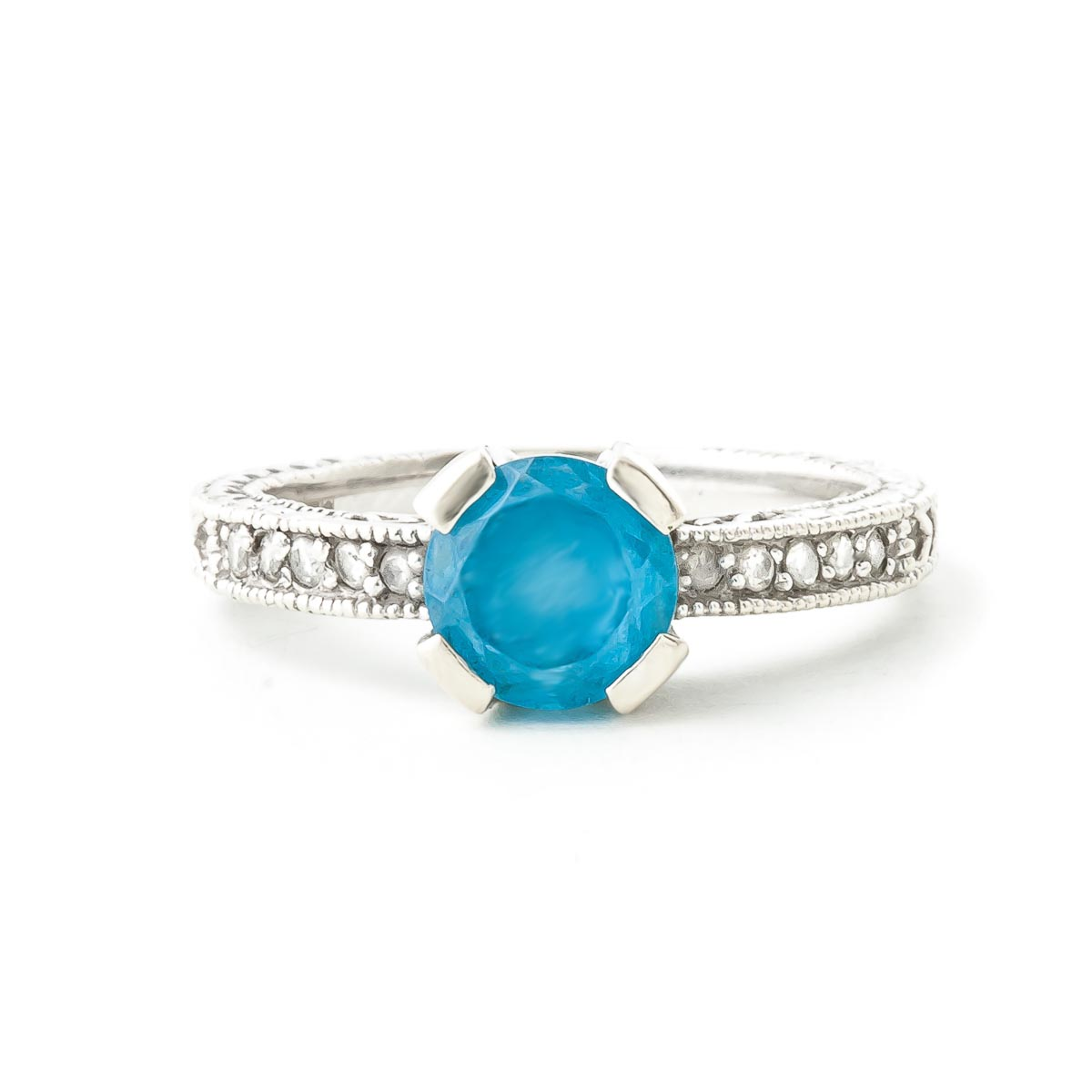 Blue Topaz and Diamond Renaissance Ring 1.5ct in 9ct White Gold