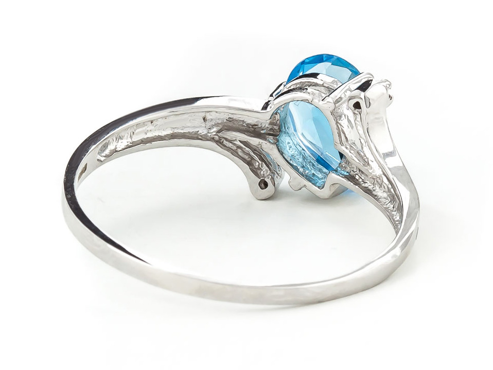 Blue Topaz and Diamond Flank Ring 1.5ct in 14K White Gold