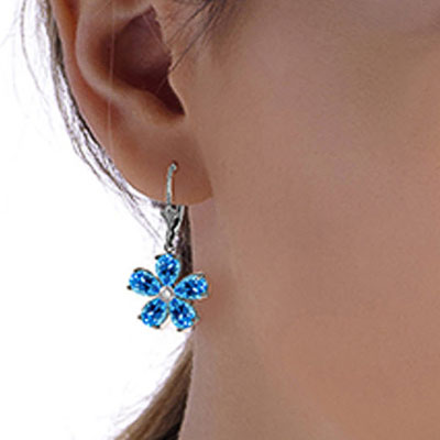 Blue Topaz and Diamond Flower Petal Drop Earrings 4.4ctw in 9ct White Gold