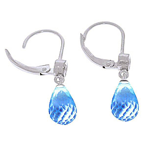 Blue Topaz and Diamond Illusion Drop Earrings 4.5ctw in 9ct White Gold
